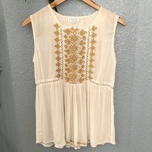 Sage the label•boho embroidered sleeveless blouse